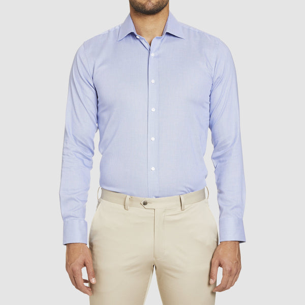 a front on view of the conran business shirt in blue by studio italia st-13