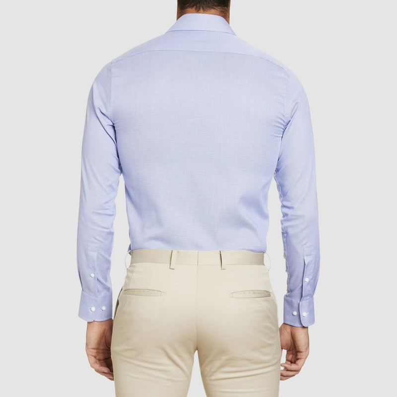 a back on view of the conran business shirt in blue by studio italia st-13