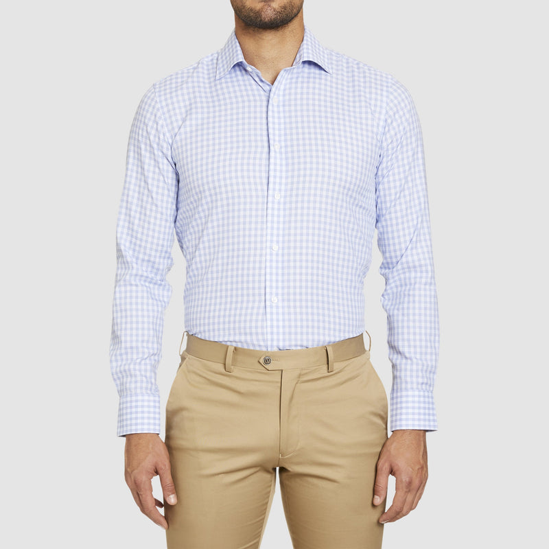 studio italia slim fit conran shirt in blue and white check ST-15