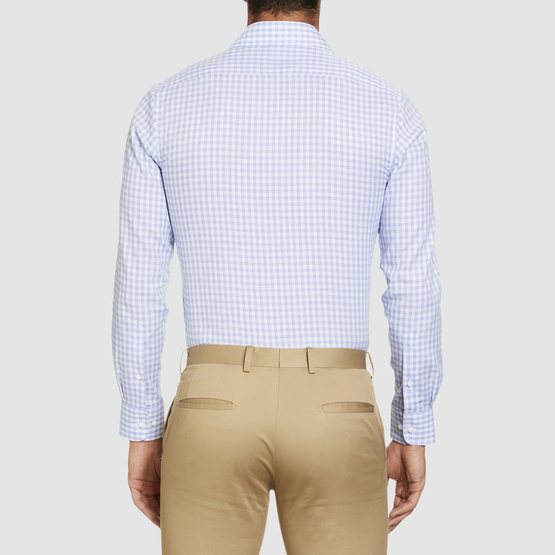 a back view of the studio italia slim fit conran shirt in blue and white check ST-15