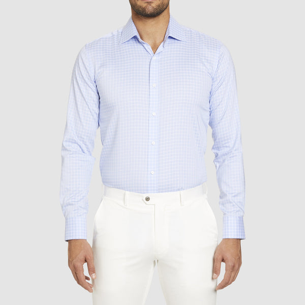 the studio italia slim fit conrad business shirt in blue pure cotton ST-16