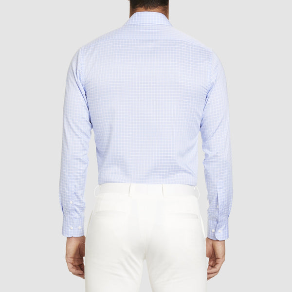 a back view of the the studio italia slim fit conrad business shirt in blue pure cotton ST-16