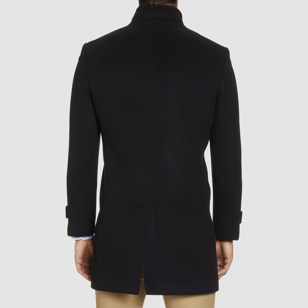 a front on view of the double breasted studio italia slim fit conroy coat in navy wool and cashmere blend ST-460-11