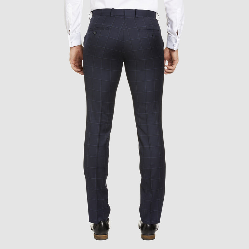 a back view of the studio italia slim fit florence T85 trouser in navy check pure wool ST-465-11