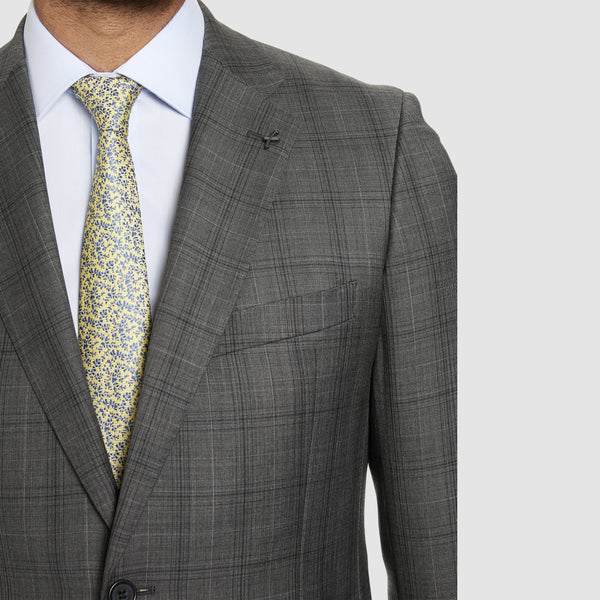 notch lapel and pocket on the studio italia slim fit florence suit jacket in grey wool  ST-321-21