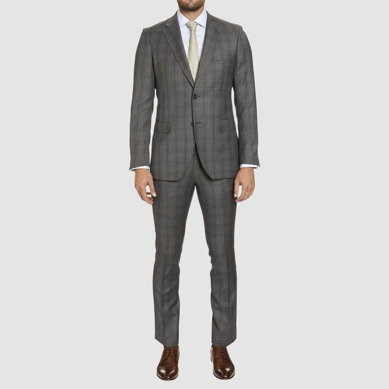 a full length view of the studio italia slim fit florence T85 trouser in grey pure wool ST-321-21 as part of the florence suit