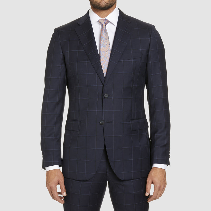 a front view of the studio italia slim fit florence suit jacket in navy check pure wool  ST-465-11