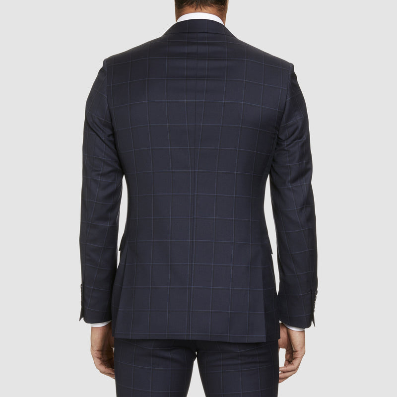 a back view of the studio italia slim fit florence suit jacket in navy check pure wool  ST-465-11