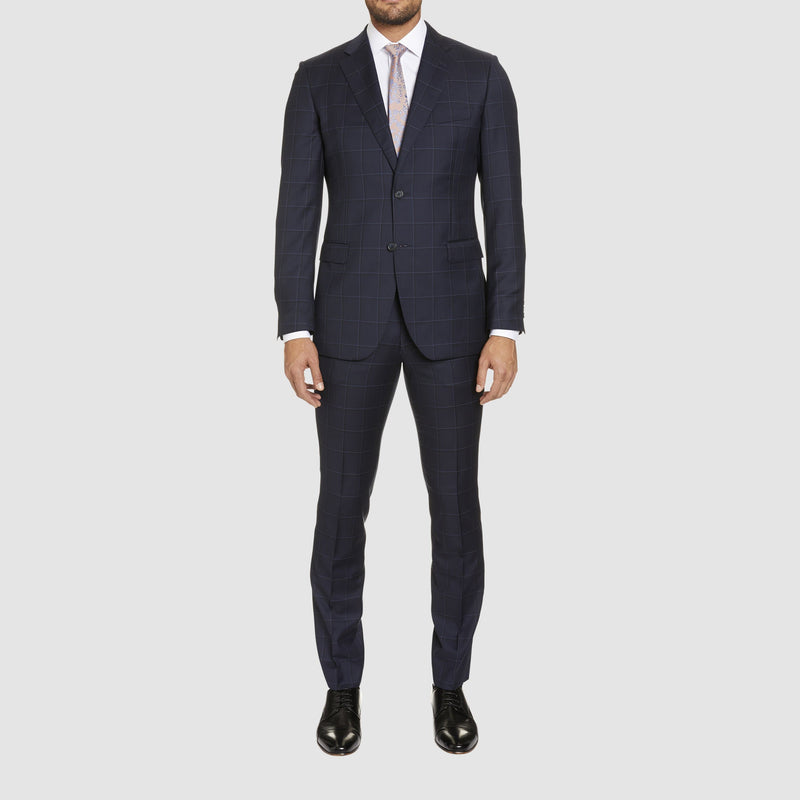 a full length view of the studio italia slim fit florence suit jacket in navy check pure wool  ST-465-11