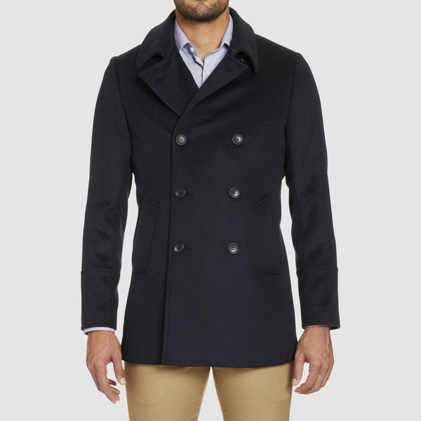 a front view of the studio italia slim fit highland wool and cashmere pea coat ST-464-11