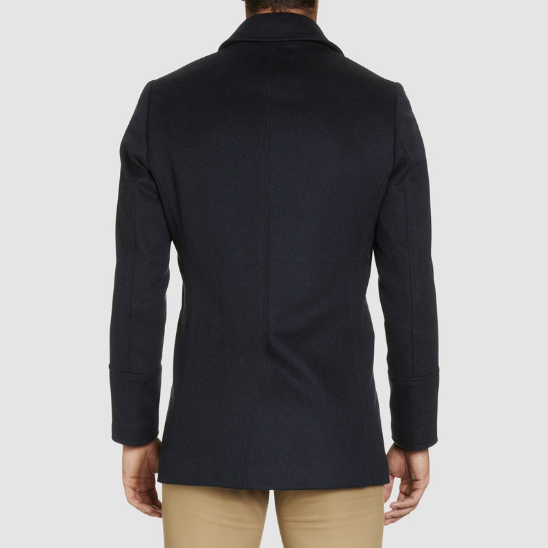 a back view of the a front view of the studio italia slim fit highland wool and cashmere pea coat ST-464-11