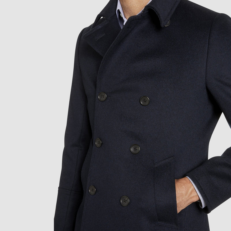 showing the pocket detail on the a front view of the studio italia slim fit highland wool and cashmere pea coat ST-464-11
