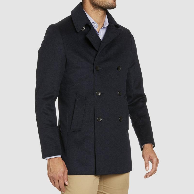 Studio Italia slim fit highland pea coat in navy wool and cashmere blend