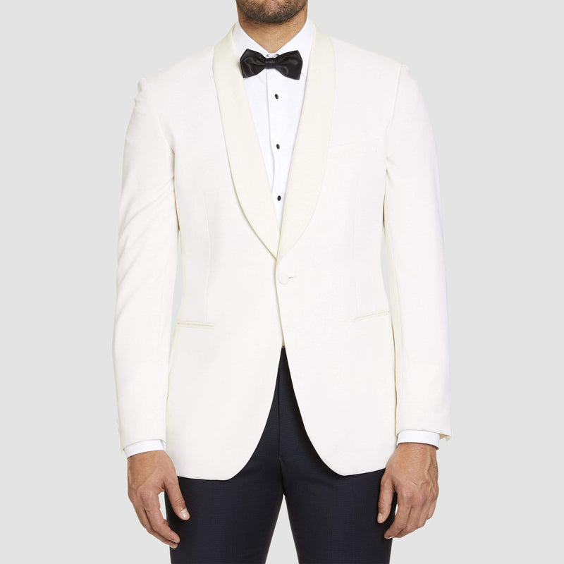 a front view of the studio italia slim fit prince shawl collar tuxedo jacket ST-436-81 in ivory