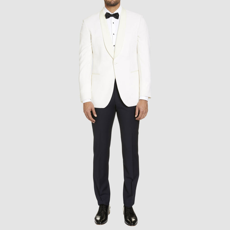 a full length view of the a front view of the studio italia slim fit prince shawl collar tuxedo jacket ST-436-81 in ivory