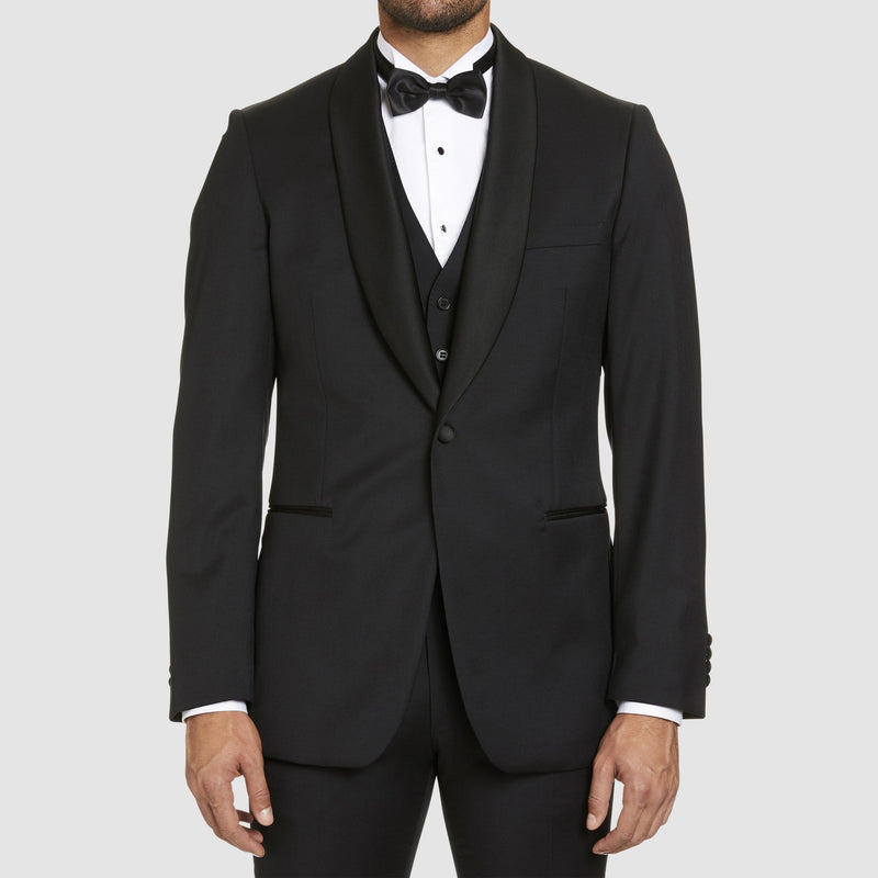 studio italia slim fit savoy tuxedo jacket in black pure wool with shawl collar
