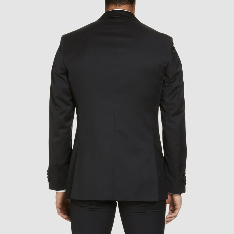 back view of the studio italia slim fit savoy tuxedo jacket in black pure wool with shawl collar