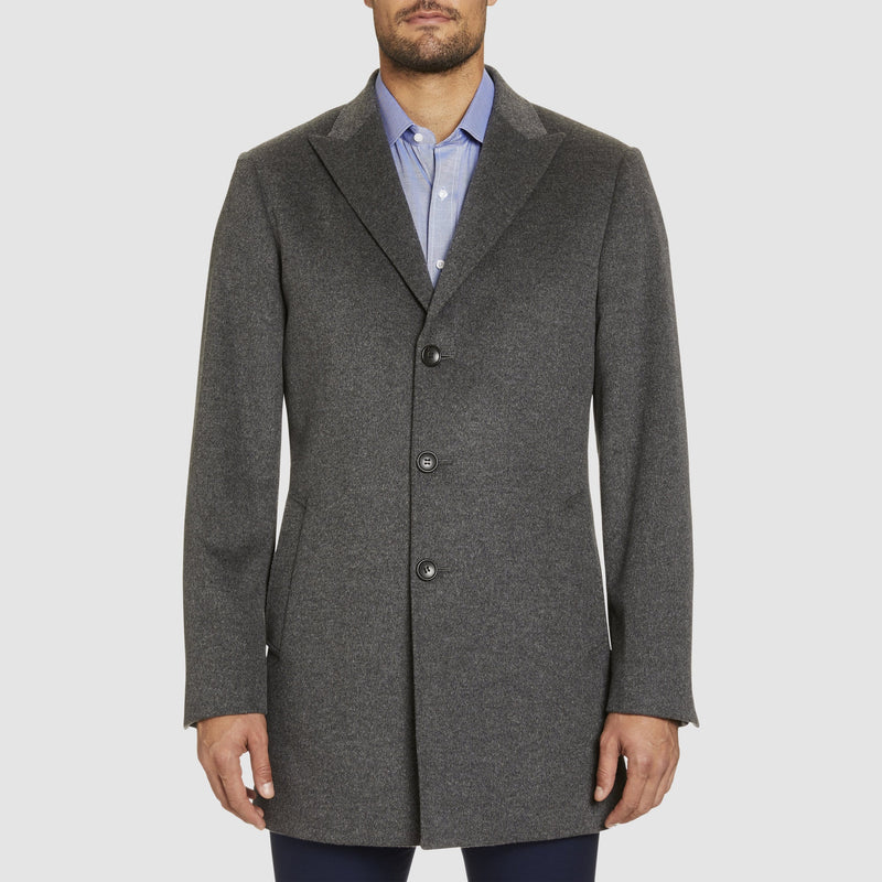a front view of the studio italia slim fit single breasted peak lapel coat in grey cashmere wool  ST-464-21