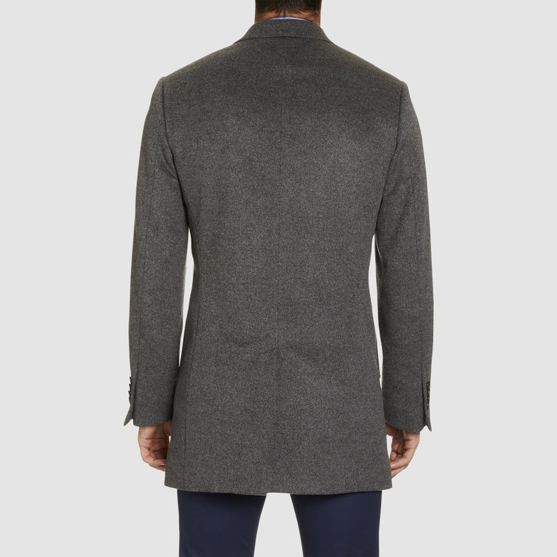 a back view of the studio italia slim fit single breasted peak lapel coat in grey cashmere wool  ST-464-21
