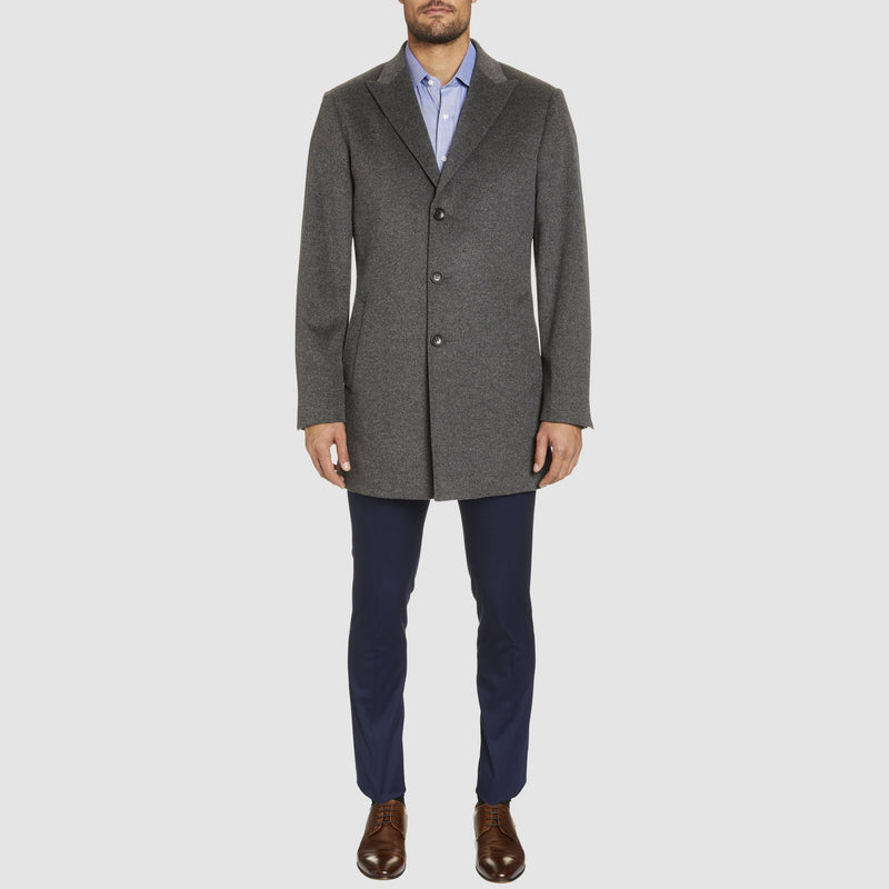 Studio Italia slim fit mayfair single breasted coat in grey wool and cashmere blend