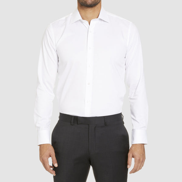 front view of the studio italia slim fit spencer business shirt  ST-01 single cuff