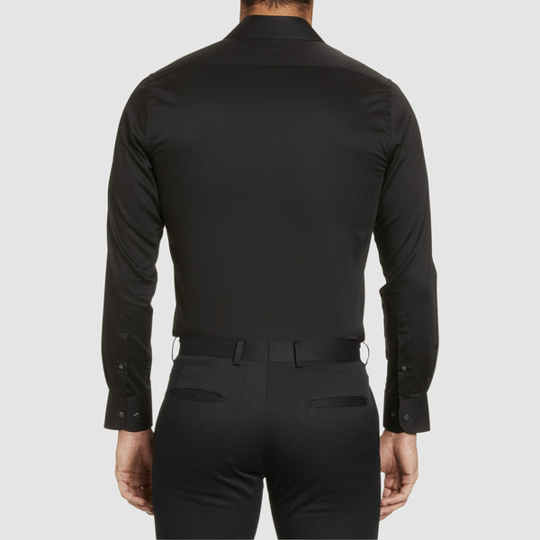 a back view of the studio italia slim fit spencer business shirt in black easy iron cotton