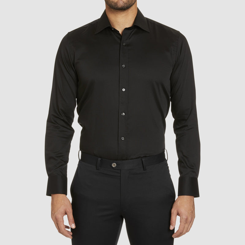 studio italia slim fit spencer business shirt in black easy iron cotton