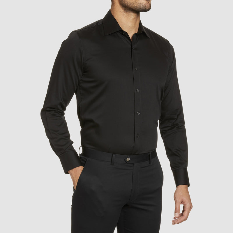 Studio Italia slim fit spencer shirt in black pure cotton ST-02