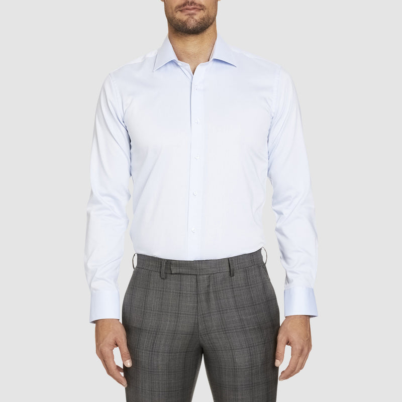 a front view of the studio italia slim fit spencer business shirt in blue cotton