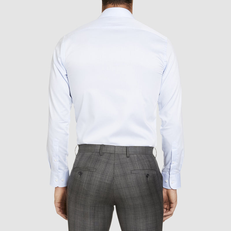 a back view of the studio italia slim fit spencer business shirt in blue cotton