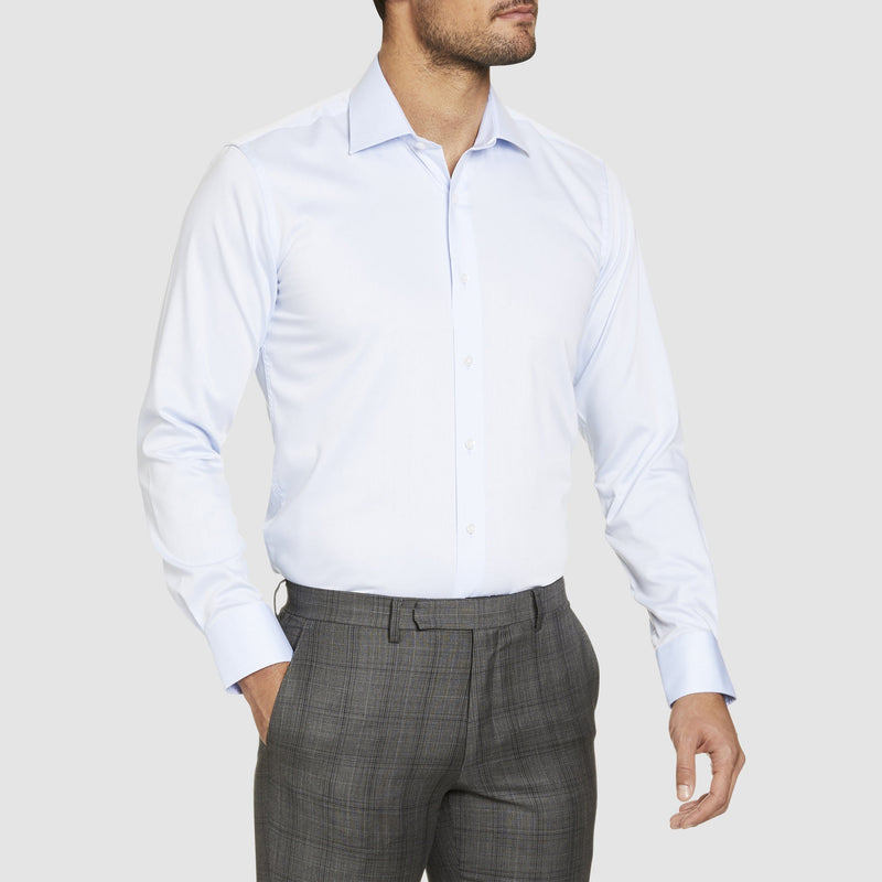 Studio Italia slim fit spencer shirt in blue pure cotton