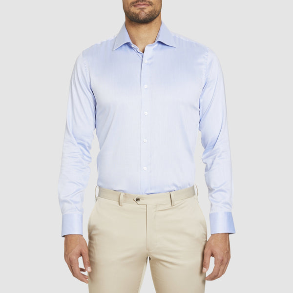fron view of the studio italia slim fit spencer business shirt in blue cotton