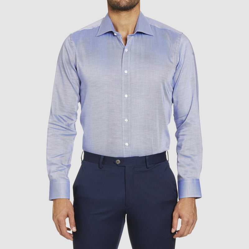 front view of the studio italia slim fit spencer business shirt in blue easy iron cotton  ST21