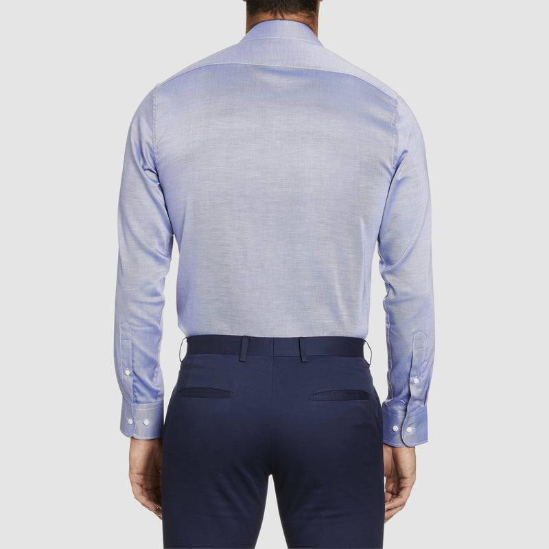 a back view of the studio italia slim fit spencer business shirt in blue easy iron cotton  ST-21
