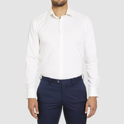 a front view of the studio italia slim fit spencer business shirt in ivory pure cotton  ST-01