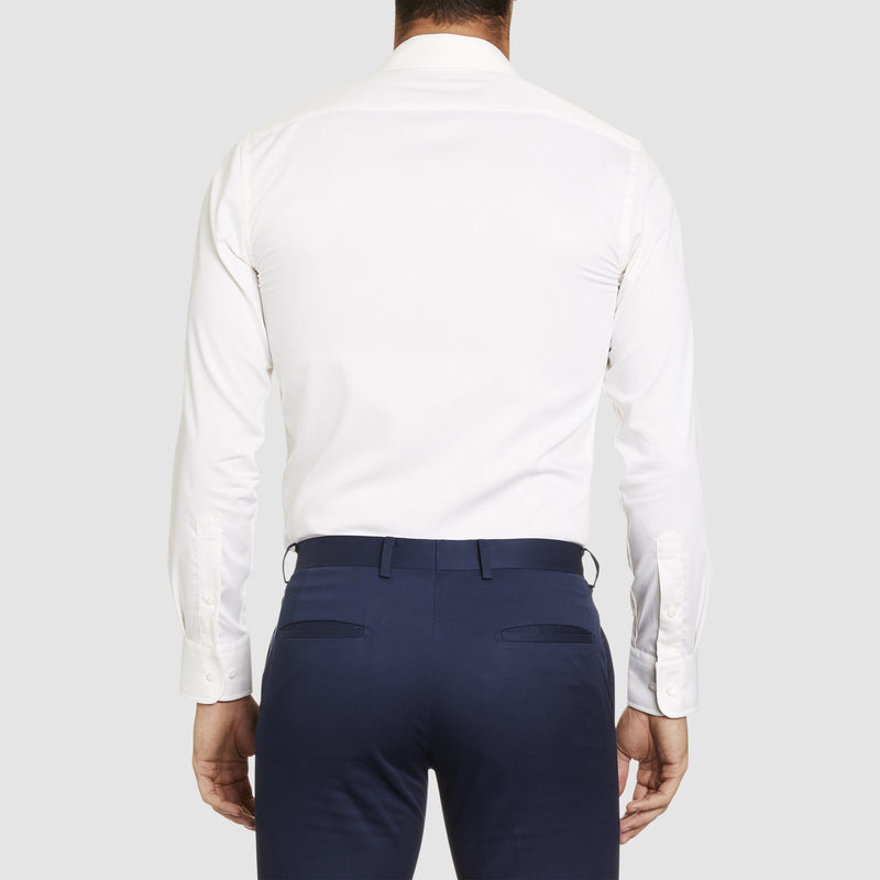 a back view of the studio italia slim fit spencer business shirt in ivory pure cotton  ST-01