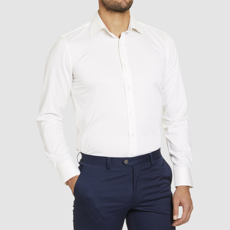 Studio Italia slim fit spencer shirt in ivory pure cotton