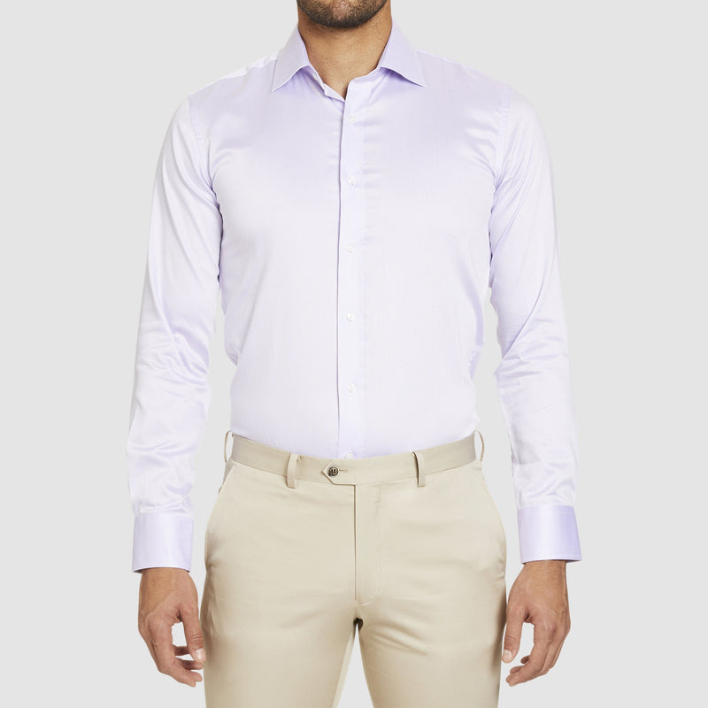 studio italia slim fit spencer business shirt in a muted mauve easy iron cotton