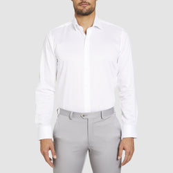studio italia slim fit spencer shirt in white cotton with single cuff