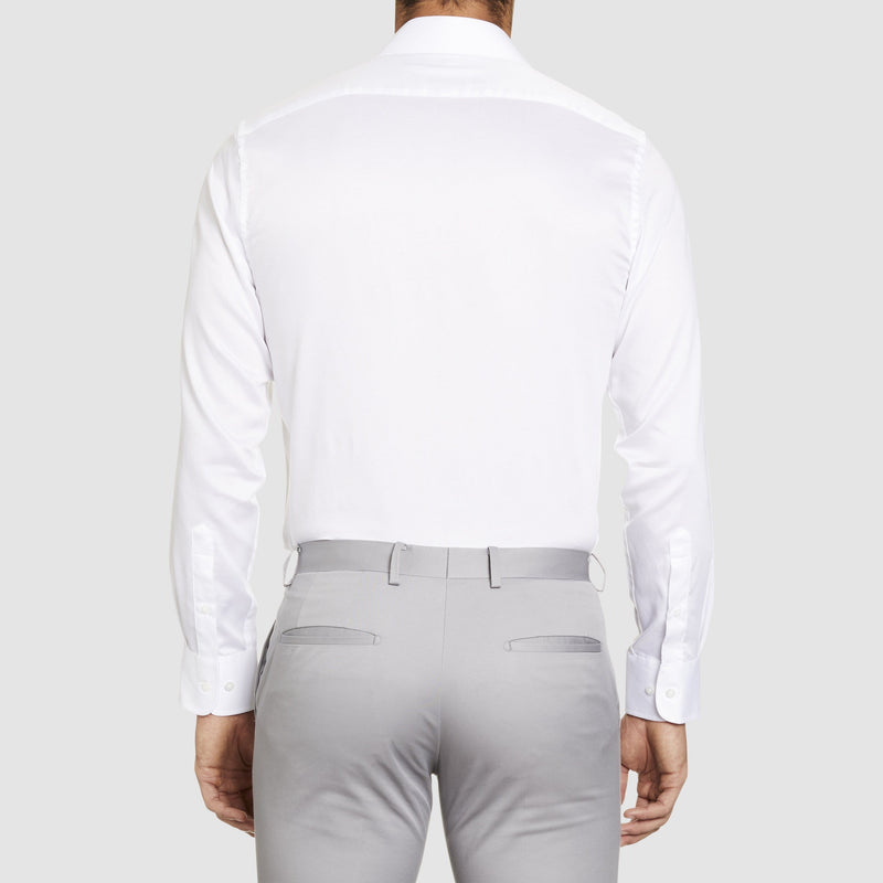 a back view of the studio italia slim fit spencer shirt in white cotton with single cuff
