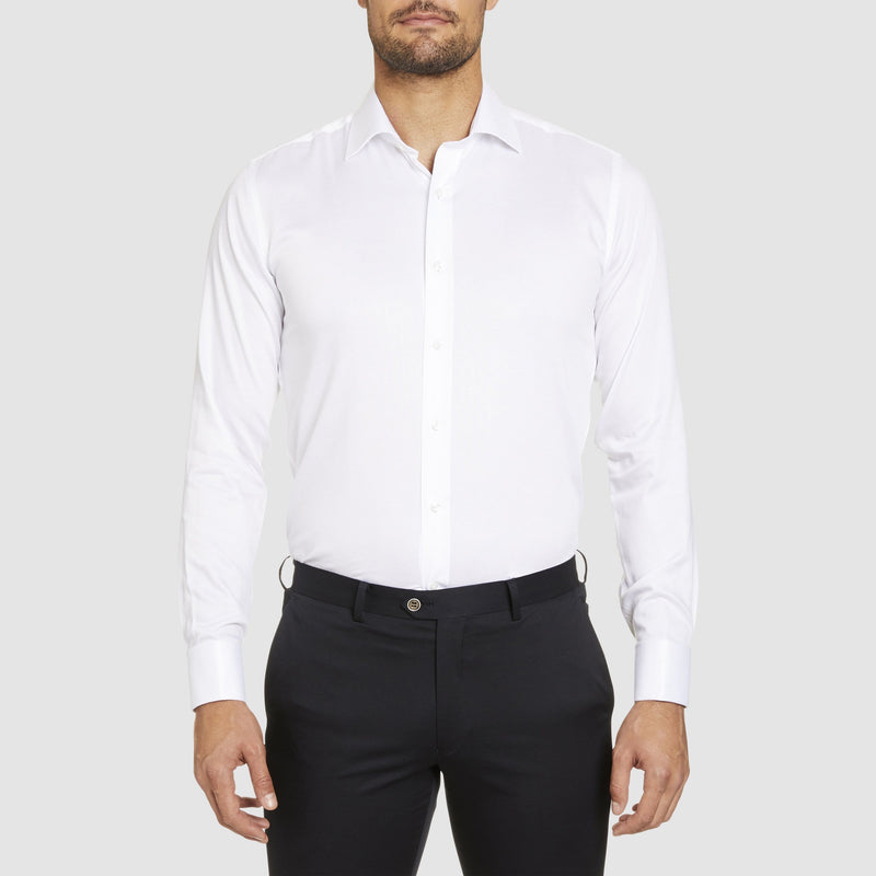 a front view of the studio italia slim fit spencer shirt in white cotton with double cuff