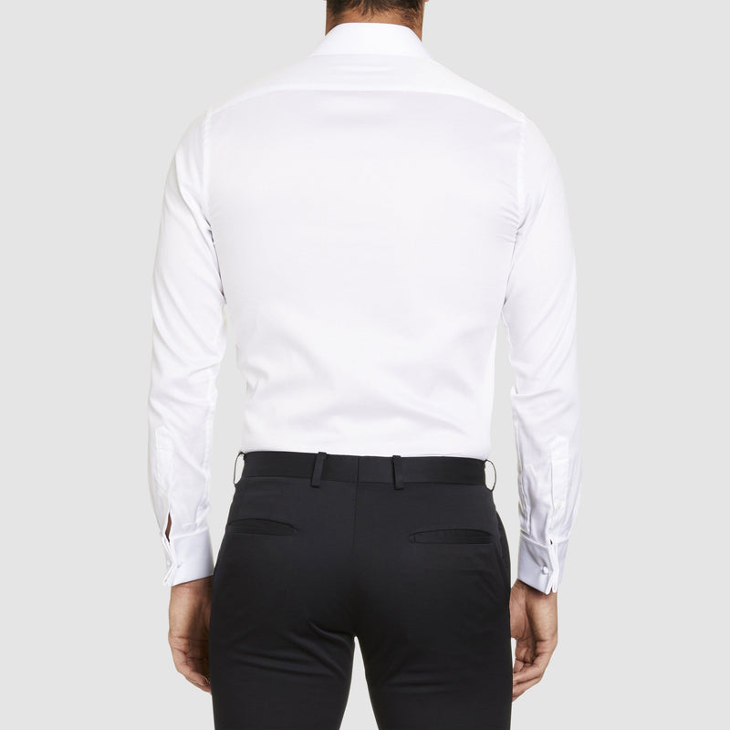 back view of the studio italia slim fit spencer shirt in white cotton with double cuff