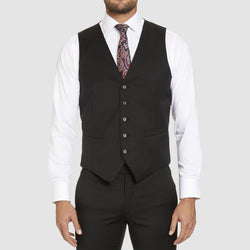 Studio italia slim fit hudson vest in black merino wool ST-362-11