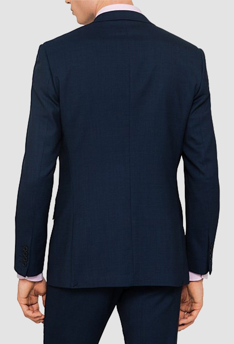 a rear view of the ted baker slim fir rajah Birdseye suit jacket in navy blue pure wool including the side vent details