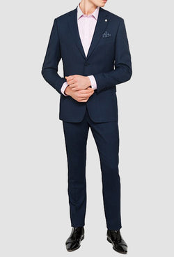 a full length view of the ted baker slim fit ralah Birdseye suit in navy pure wool