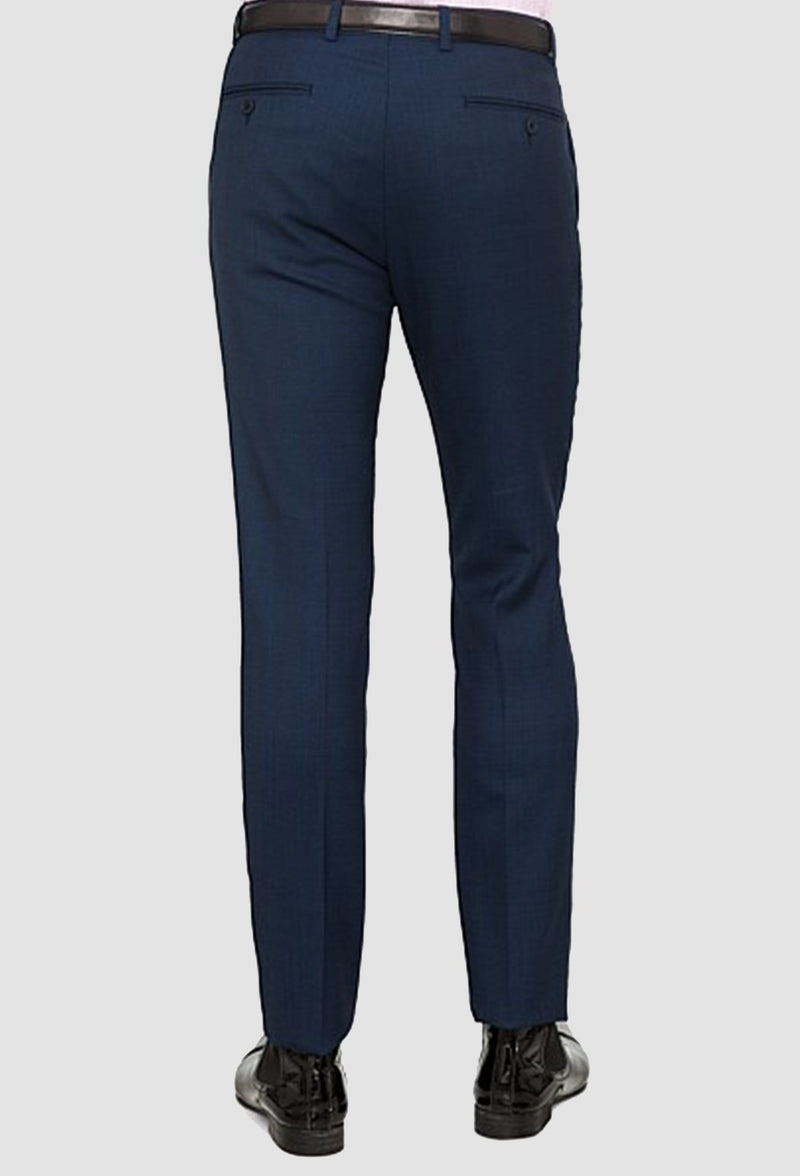 a back view of the ted baker slim fit rajah Birdseye trouser in navy pure wool including the back button welt pockets