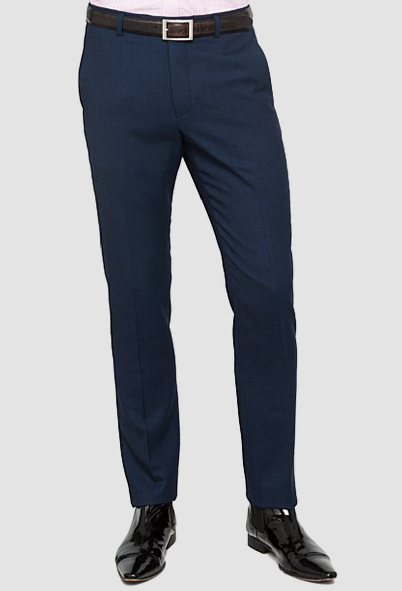 a front view of the ted backer slim fit Ralph Birdseye trouser in navy pure wool showing the fast front tapered leg