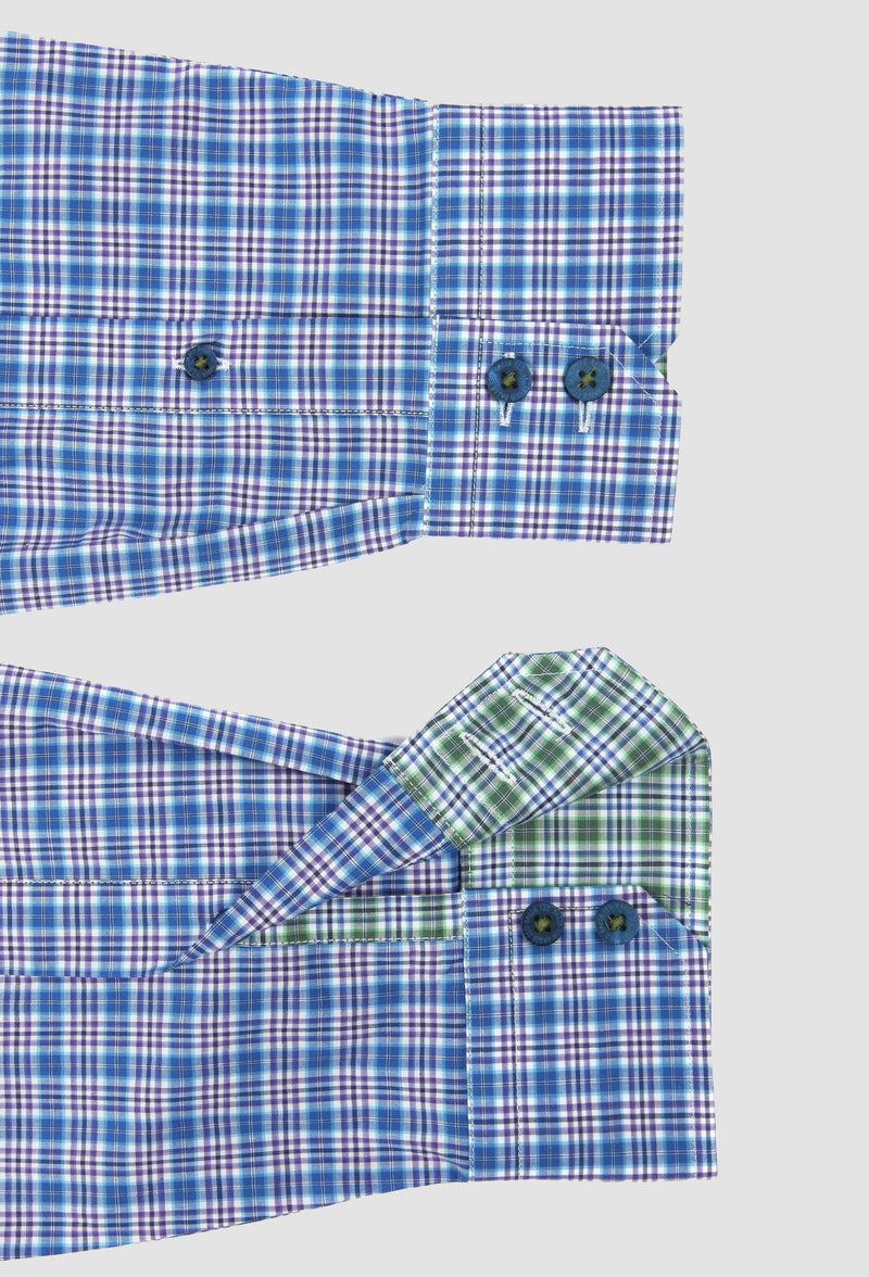 A close up view of the Ted Baker slim fit catton shirt cuffs and button details in sky 2RSH14