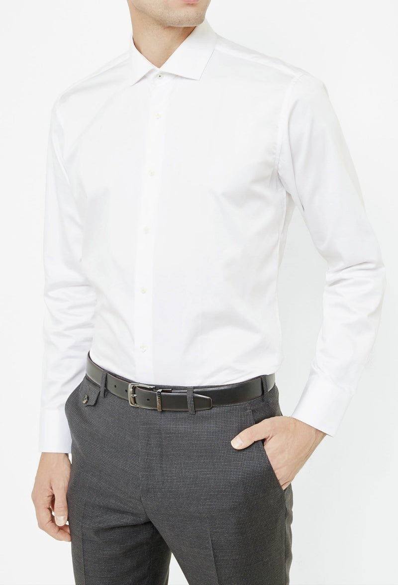 Ted Baker slim fit rosest shirt in white 2RA6899 from view styled with a grey trouser