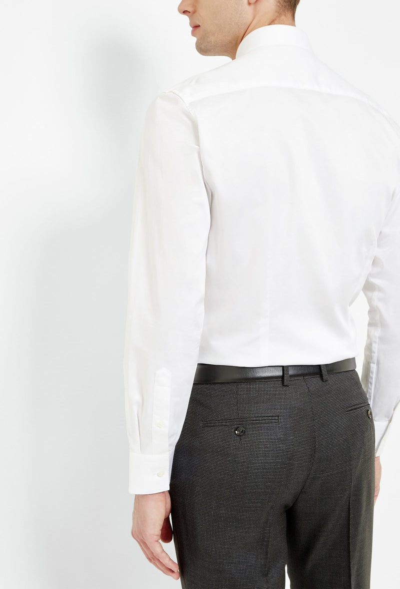 reverse view of the Ted Baker slim fit rosest shirt in white cotton 2RA6899